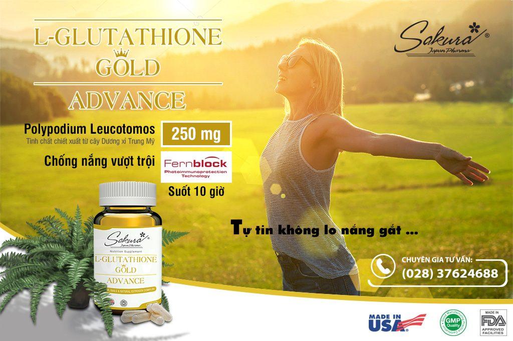 Tự tin, không lo nắng gắt với Sakura L-Glutathione Gold Advace