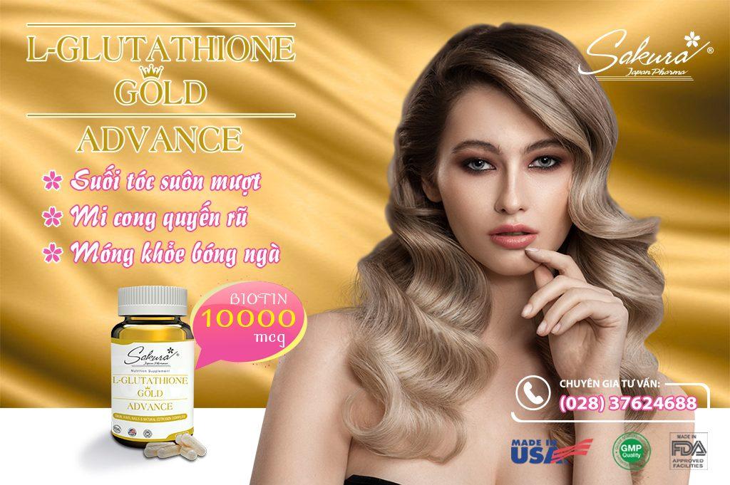 Sakura L-Glutathione Gold Advance - Biotin 10000 mcg trau chuốc mi, tóc, móng