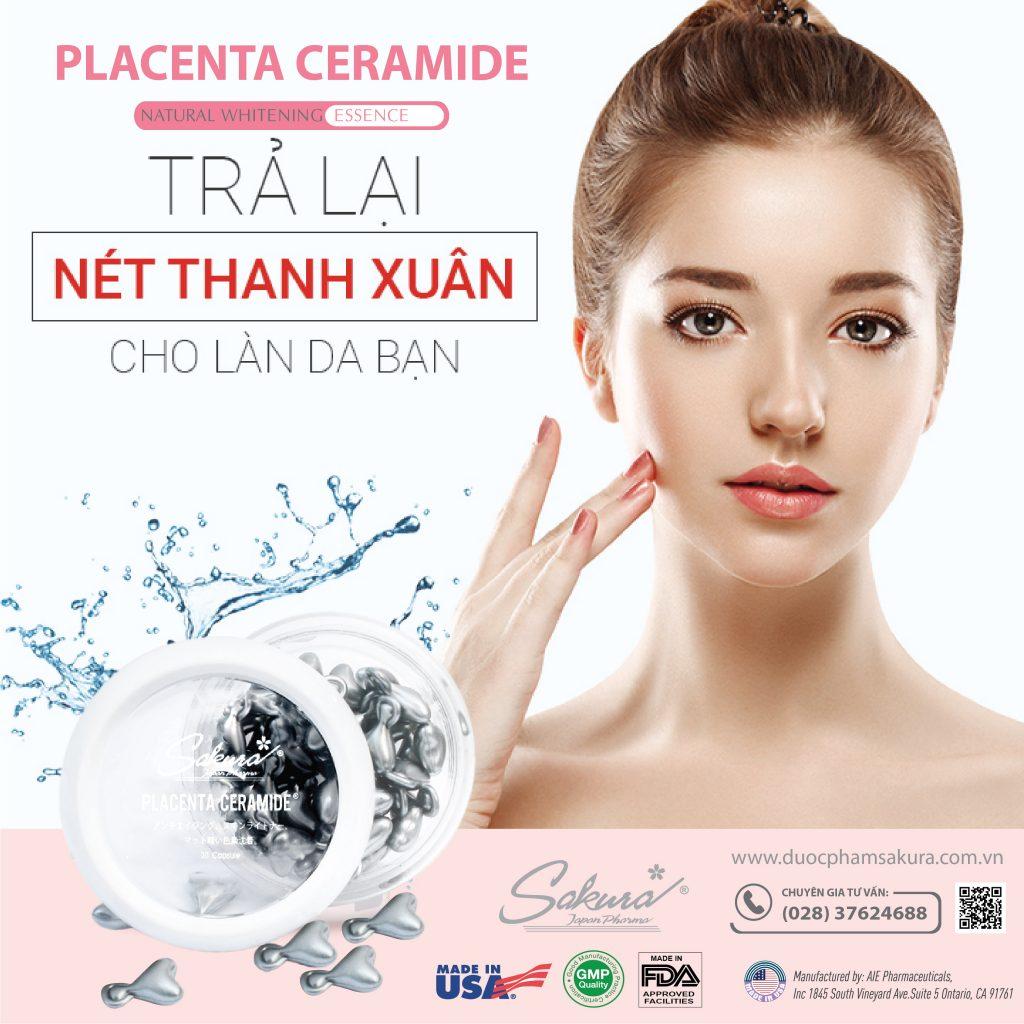 Sakura Placenta Ceramide - Trả lại thanh xuân cho làn da của bạn